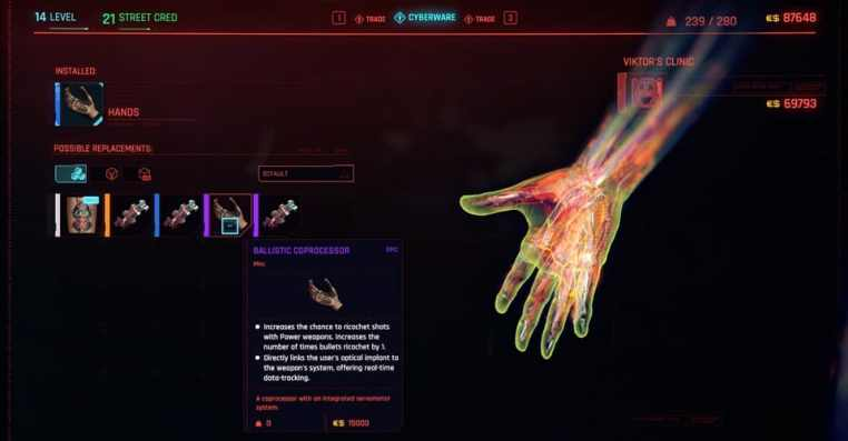 Cyberpunk 2077: How to Install Bullet Ricochet Cyberware