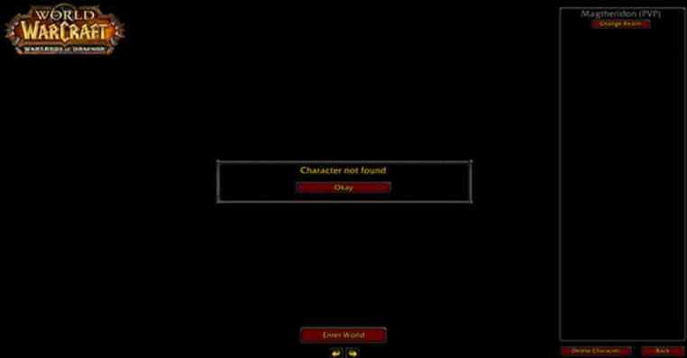 World Of Warcraft | Fix Character Not Found Error