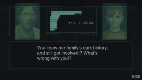 "Screenshot of Otacon saying to E.E.: ""You knew our family's dark history and still got involved?! What's wrong with you?!"""
