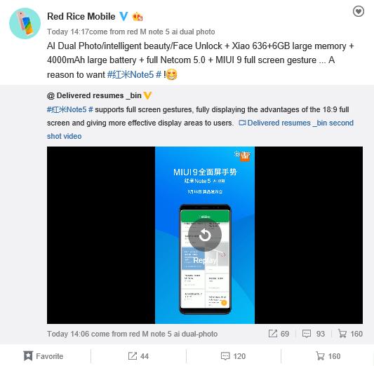 Redmi Note 5 China Gesti a schermo intero