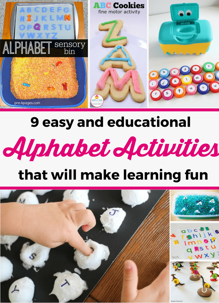 Discover 9 easy and fun alphabet activities that your child will love! You can easily prepare them and they are great for teaching kids about the alphabet. --- Children activities   Alphabet activities for toddlers and preschoolers   Preschool activities   Home preschool   Alphabet activities for 3 year olds #ChildrenActivities