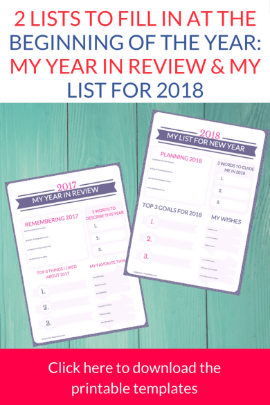 2 lists to fill in at the beginning of the year: \