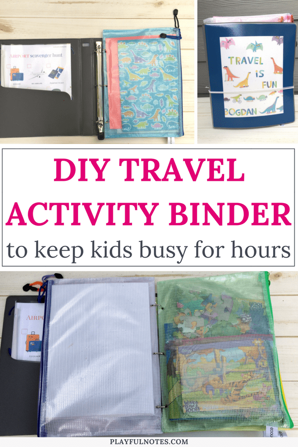DIY travel binder for kids: If you are looking for some nice travel activities for kids, here is a list of ideas to inspire you! Creating a travel binder will keep kids busy for hours and will make traveling a lot easier and enjoyable for the whole family! #FamilyTravel #TravelingWithKids
