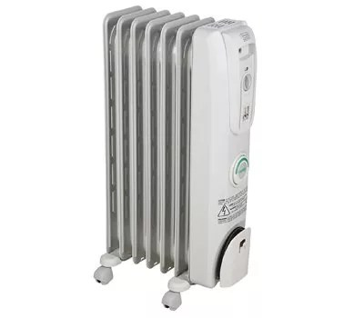 DeLonghi Oil-Filled Radiator Space Heater, Quiet 1500W, Adjustable Thermostat, 3 Heat Settings, Energy Saving, Safety Features, Nice for Home with PetsKids, Light Gray, Comfort Temp