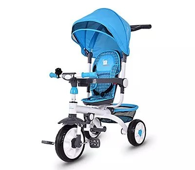 Costzon 4 in 1 Kids Tricycle Steer Stroller Toy Bike w Canopy, Safety Seat, Storage Basket, Foot Pedals, for Children Age 10 Months to 5 Years Old (Blue)