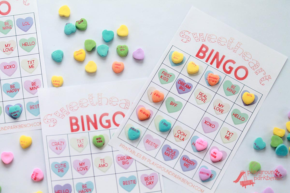 Conversation Heart Valentine Bingo Cards