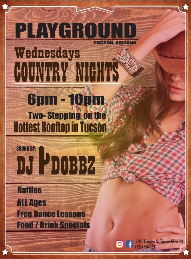 ROOFTOP COUNTRY NIGHT WITH FREE LESSONS AT PLAYGROUND BAR AND LOUNGE