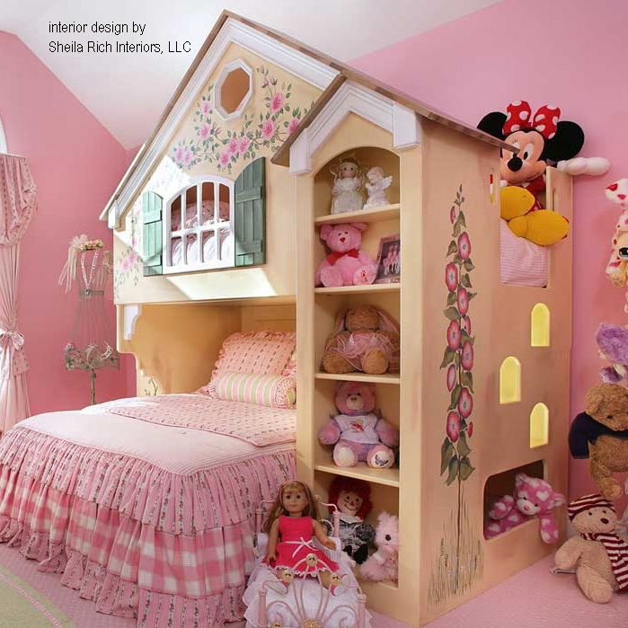Dollhouse Loft Bed   Themed Beds by Tanglewood Design Dollhouse Loft Bed