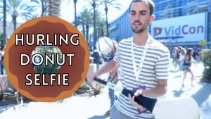 Hurling Donut Selfie at VidCon 2015