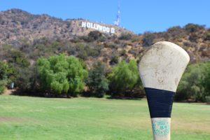 Hurling Hollywood sign Los Angeles California