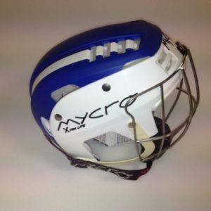 Hurling Helmet Mycro Blue white stripes