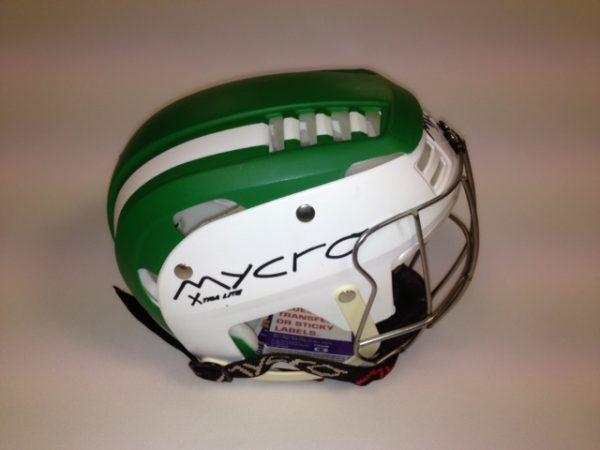 Hurling Helmet Mycro Green white stripes
