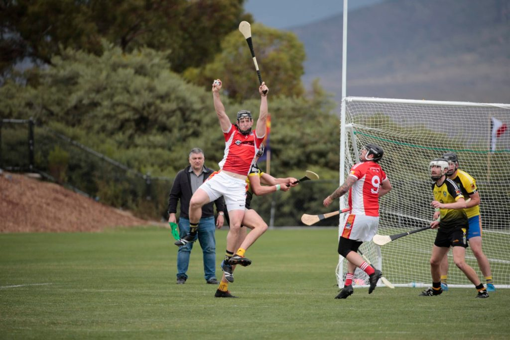 California's St. Peter's San Diego hurling player catching a sliotar at the West Coast Sevens tournament in 2019.