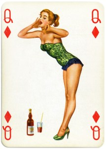 Pinup cards by Piatnik Baby Dolls from 1956 – Queen of diamonds