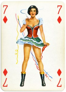 Pinup cards by Piatnik Baby Dolls from 1956 Seven of diamonds