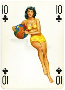Pinup cards by Piatnik Baby Dolls from 1956 Ten of clubs