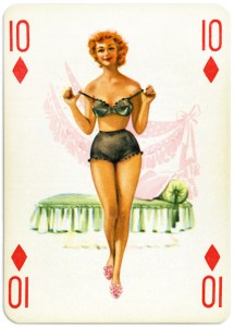 Pinup cards by Piatnik Baby Dolls from 1956 Ten of diamonds