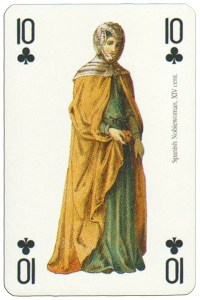 10 of clubs Renaissance clothes card