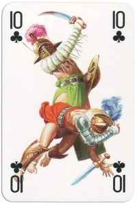 #PlayingCardsTop1000 – 10 of clubs from Gladiators deck designed by Severino Baraldi