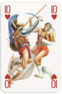 10 of hearts from Gladiators deck designed by Severino Baraldi