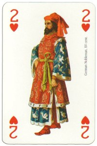 #PlayingCardsTop1000 – 2 of hearts Renaissance clothes card