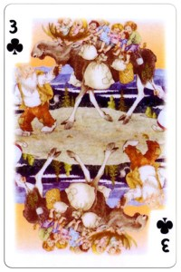 #PlayingCardsTop1000 – 3 of clubs Trolls cartoons playing cards by Rolf Lidberg