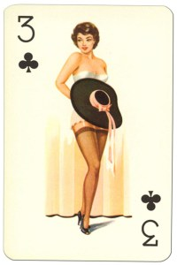 3 of clubs Van Genechten Glamour Girls pinup cards