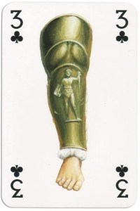 3 of clubs from Gladiators deck designed by Severino Baraldi