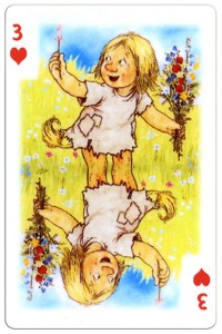 3 of hearts Trolls cartoons playing cards by Rolf Lidberg