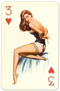 #PlayingCardsTop1000 – 3 of hearts Van Genechten Glamour Girls pinup cards