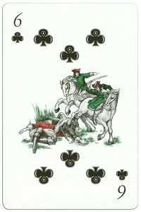 #PlayingCardsTop1000 – 300 years Poltava battle 6 of clubs