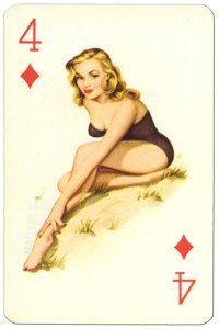 "4 of diamonds Van Genechten Glamour Girls pinup cards<span class=""rmp-archive-results""><i class=""star-highlight rmp-icon rmp-icon-star""></i><i class=""star-highlight rmp-icon rmp-icon-star""></i><i class=""star-highlight rmp-icon rmp-icon-star""></i><i class=""star-highlight rmp-icon rmp-icon-star""></i><i class=""star-highlight rmp-icon rmp-icon-star""></i> <span>5 (1)</span></span>"