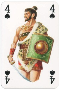 #PlayingCardsTop1000 – 4 of spades from Gladiators deck designed by Severino Baraldi
