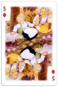 5 of diamonds Trolls cartoons playing cards by Rolf Lidberg