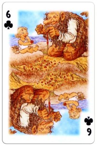 #PlayingCardsTop1000 – 6 of clubs Trolls cartoons playing cards by Rolf Lidberg