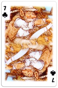 #PlayingCardsTop1000 – 7 of clubs Trolls cartoons playing cards by Rolf Lidberg