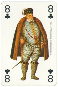 #PlayingCardsTop1000 – 8 of clubs Renaissance clothes card