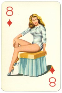8 of diamonds Van Genechten Glamour Girls pinup cards