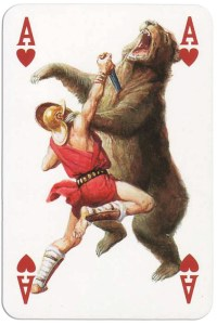 #PlayingCardsTop1000 – Ace of hearts from Gladiators deck designed by Severino Baraldi