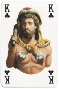 King of clubs from Gladiators deck designed by Severino Baraldi
