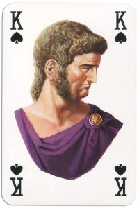 #PlayingCardsTop1000 – King of spades from Gladiators deck designed by Severino Baraldi