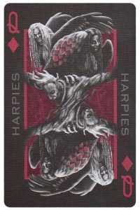 #PlayingCardsTop1000 – Queen of diamonds card from Inferno by Gustave Dore deck Bycycle