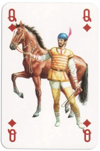 #PlayingCardsTop1000 – Queen of diamonds from Gladiators deck designed by Severino Baraldi