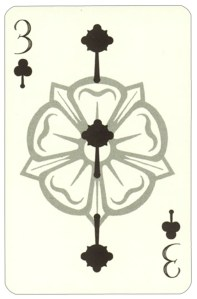 Wars of roses playing card 3 of clubs