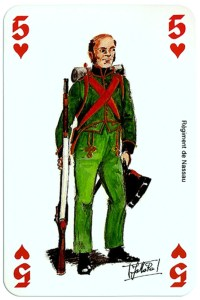 #PlayingCardsTop1000 – infantry 5 of hearts Deck Waterloo battle