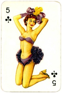 Dandy Pin up Bubble Gum advertisement cards 1956 Five of clubs 10