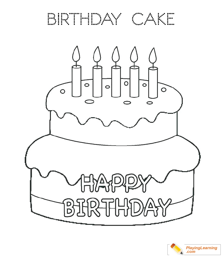 Birthday Cake Coloring Page 01 Free Birthday Cake Coloring Page
