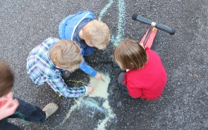 group of children chalking