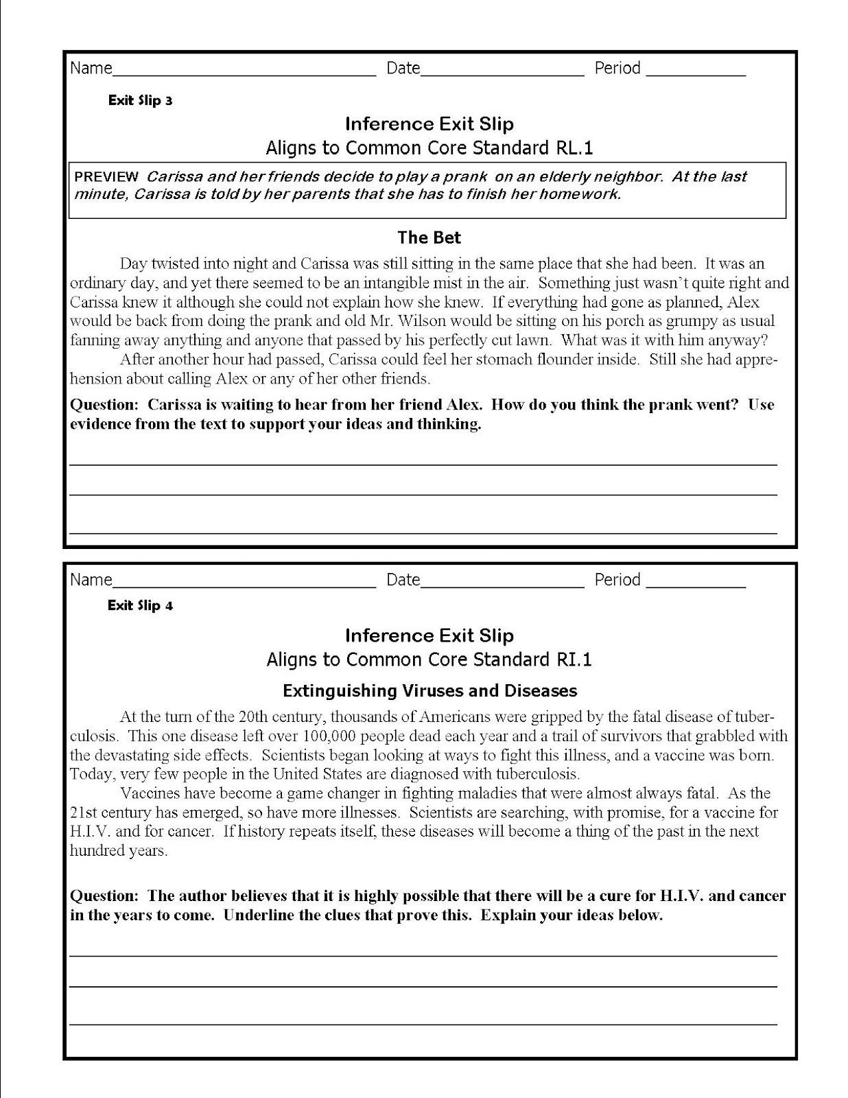 Middle School Inference Worksheets