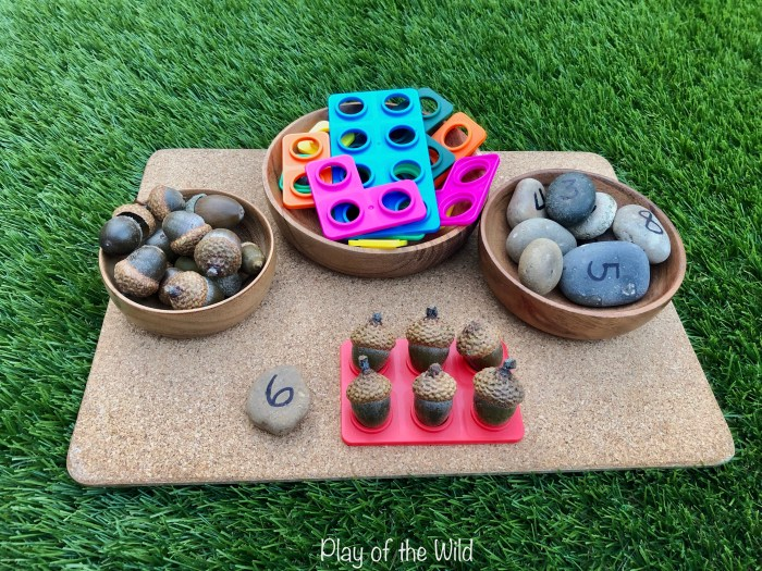 counting with numicon using autumn nuts.